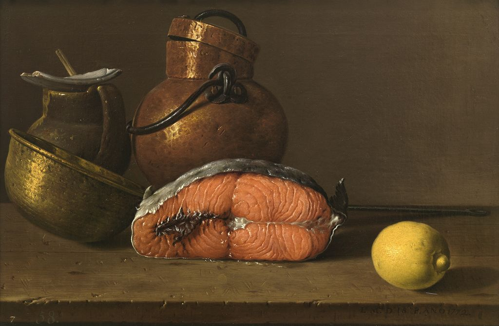 Luis_Melendez,_Still_Life_with_Salmon,Lemon_and_three_Vessels,1772_Museo_del_Prado_Madrid-done