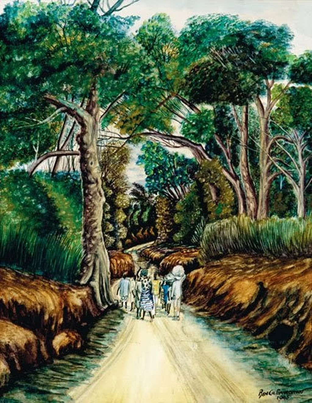 Enwonwu, Ben figures-on-a-forest-road 1943-done