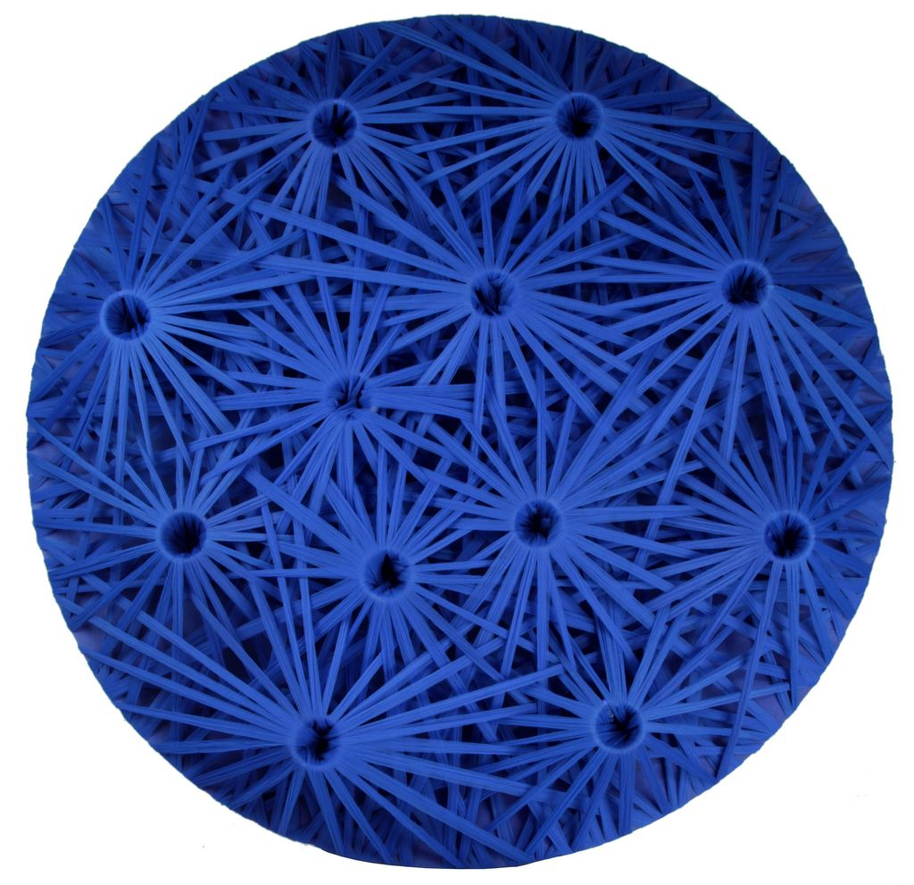 Emilio Cavallini_LINEAR FRACTAL BLUE, 2010. cotton threads, wood, 48x48x10 inches-done