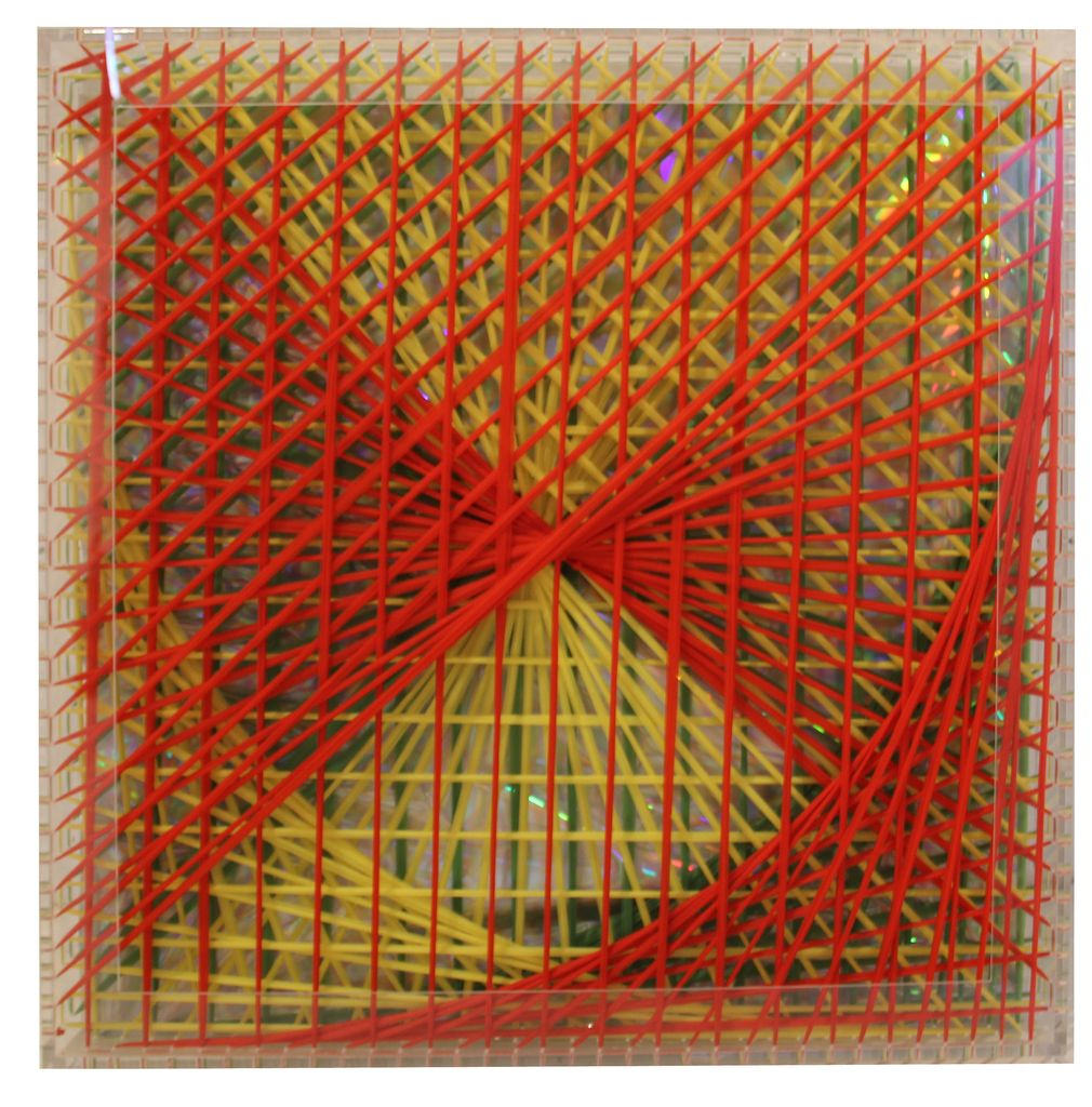 Emilio Cavallini_Rainbow- Catastrophic Bifurcation_red, 2006, cotton threads, acrylic glass frame, 40x40x5 inches-done