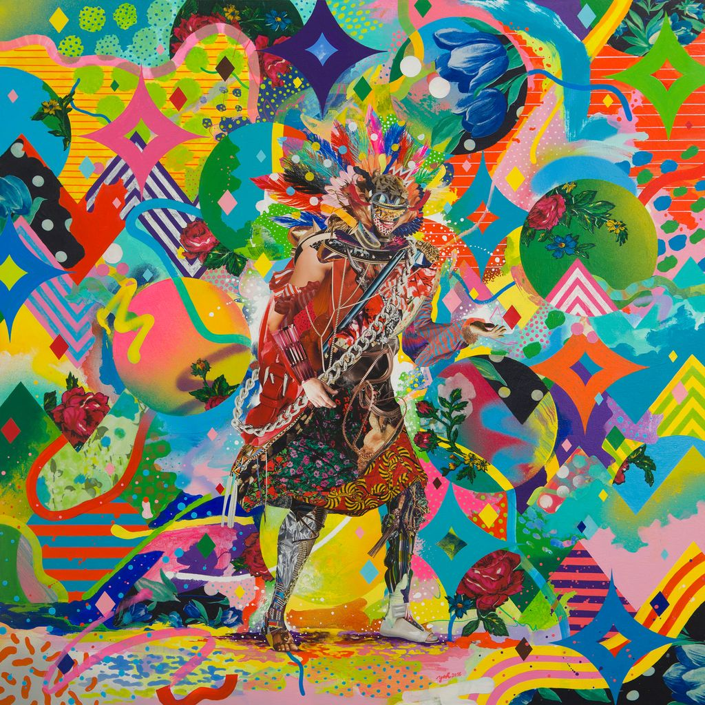 Yoh Nagao, Search Man, 2018, acrylic and collage on canvas, 40 x 40 inches-done