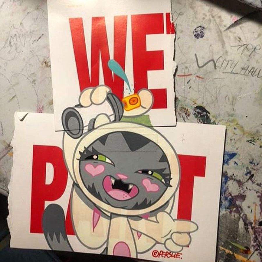 art  bunny bunnykitty cute davepersue graffiti grgallery kitty persue smile streetart urbanart