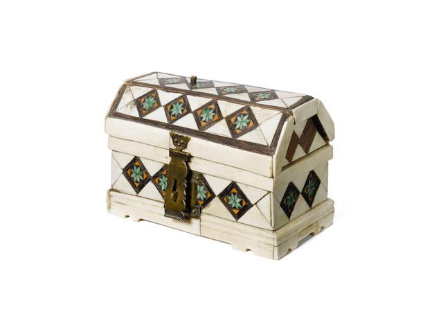 bone and parquetry inlaid jewelry box