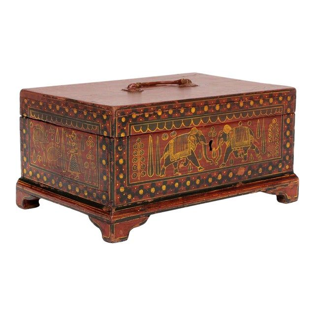 Painted Decorated Anglo Indian jewelry box